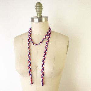 Vintage Seed Bead Braided Rope Necklace Red Blue